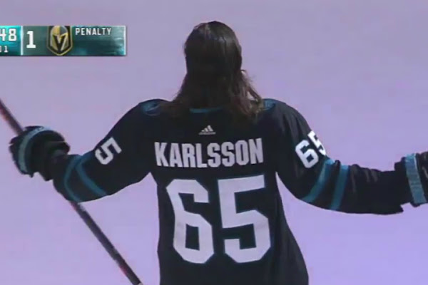 5deee725a2d Erik Karlsson made his San Jose debut in the Sharks new 'stealth mode'  jersey