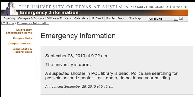 screencap from the university of Texas website