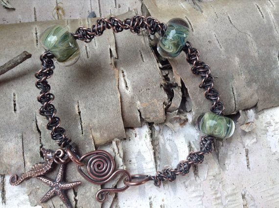 Antiqued Copper Wire Macrame Glass Beaded Bangle on Etsy, $57.50