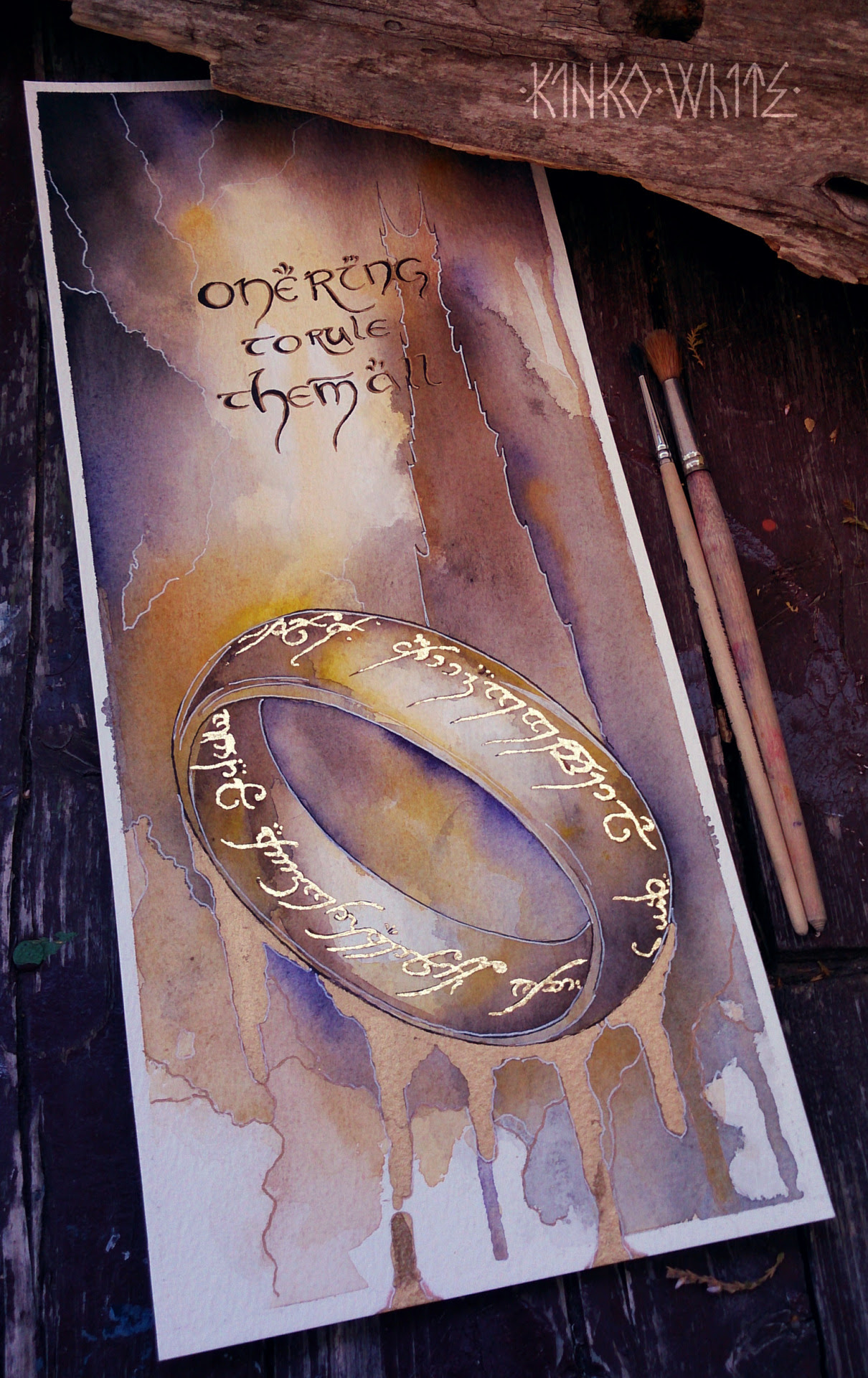 The One Ring original watercolor painting