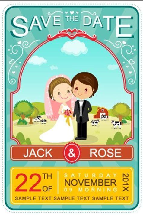 Cute Cartoon Style Wedding Invitation Card Vector 02 For