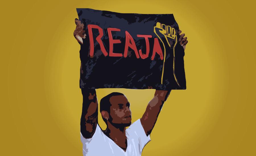 Arte sobre fotografia de manifestante da marcha de protesto contra a chacina do Cabula, em Salvador. Impune há dois anos.