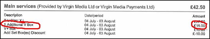 Virgin media box ripoff. Thanks for over-charging me!