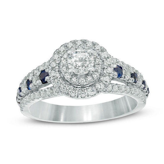 Vera Wang Love Collection 78 Ct Tw Diamond And Blue Sapphire