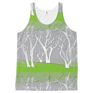 White Trees Design on Unisex Tank Top All-Over Print Tank Top