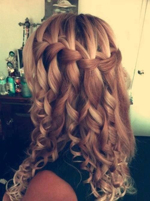 Cool style. I dont know of anyone who can do this. I think this is called a Waterfall Braid. Correct me if Im wrong. I dont think the curls would stay in my hair