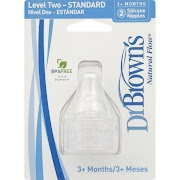 Dr. Brown's Natural Flow Silicone Nipples, Level 2, Standard, 3+ Months - 2 pack