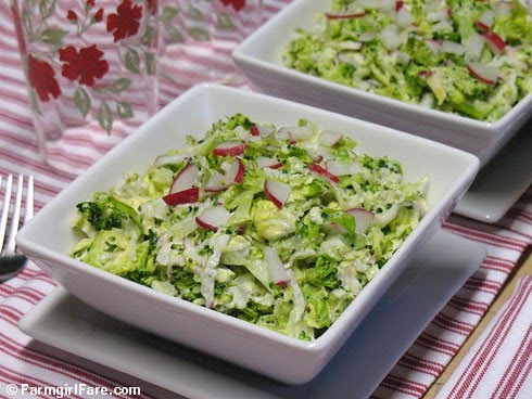 Napa Cabbage Broccoli Slaw with Brussels Sprouts, Radishes, and Creamy Dijon Dressing