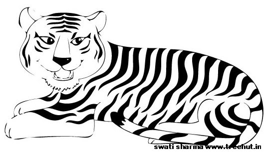 Save tiger in India coloring page large