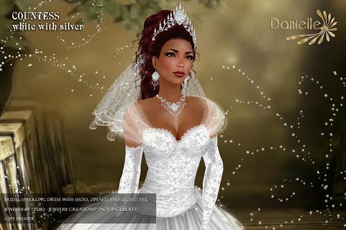 DANIELLE Countess White With Silver close