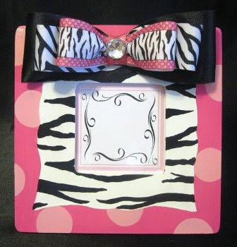 Girls Hand Painted Zebra Print Frame
