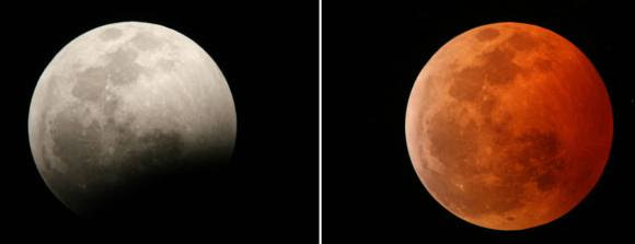 During the early partial phases you may not see the shadowed portion of the Moon with the naked eye. Binoculars and telescopes will show it plainly. But once the Moon's about 50% covered, the reddish-orange tint of the shadowed half becomes obvious. Credit: Jim Schaff