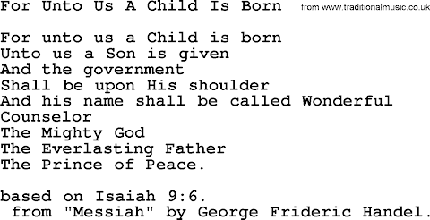 For Unto Us A Child Is Born Lyrics Handel