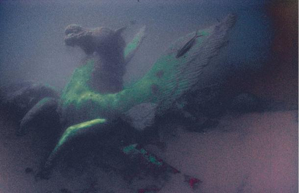 Photo of ancient sculpture submerged beneath the Red Sea.