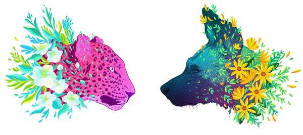 花で彩られた絶滅危惧種の動物の色鮮やかなイラスト