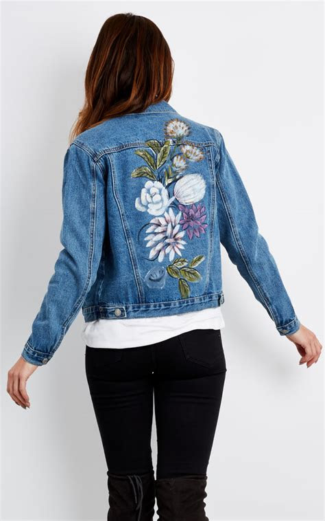 blue denim jacket  painted detail glamorous silkfred