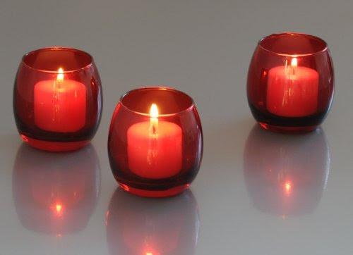 Red Glass Optic Votive Candle Holder(1 Dozen) 837654723555 ...