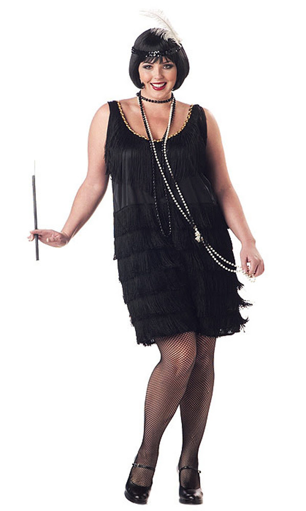 1920's jazz time flapper women's costume dress black plus