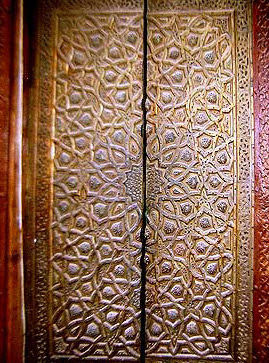 One of the ornate doors in the Qibla Iwan