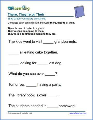 3rd grade there they are their sentences 1