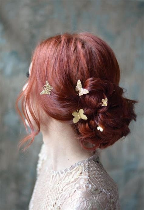 Butterfly Bobby Pins, Golden Hair Pins, Gilded Hair Clips