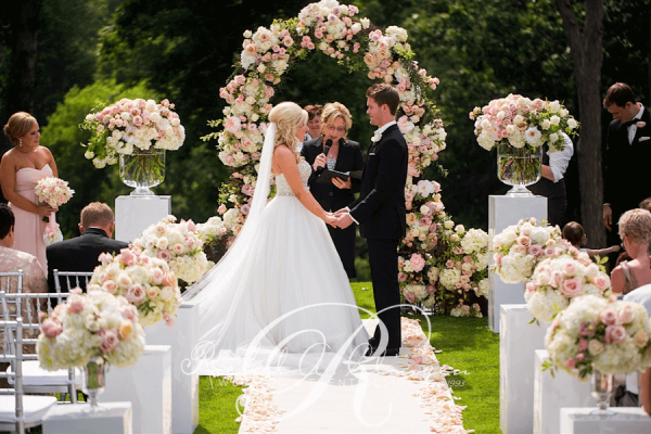 An outdoor wedding ceremony at London s Hunt Club