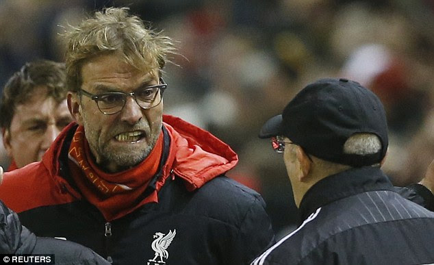 Klopp pictured raging at Pulis during their altercation at the Premier League match at Anfield
