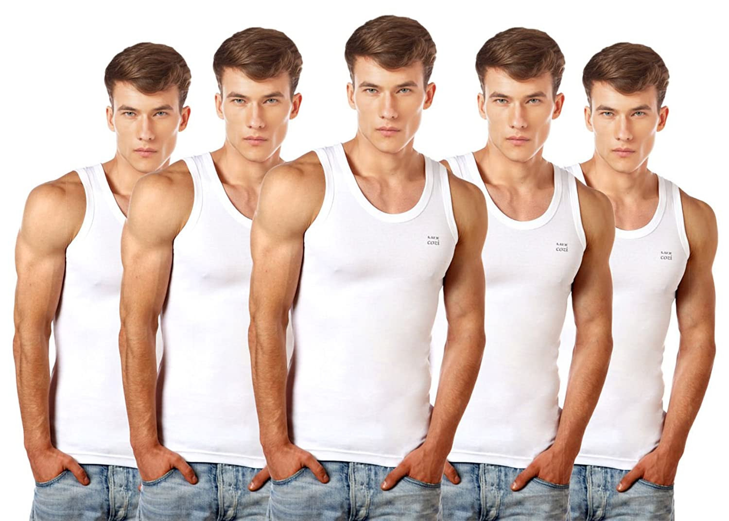 Deals on Lux Cozi Men's 100% Cotton White Vests (Pack of 5)