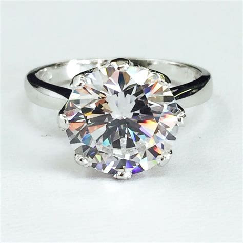 14K White Gold Large Round Cubic Zirconia Solitaire