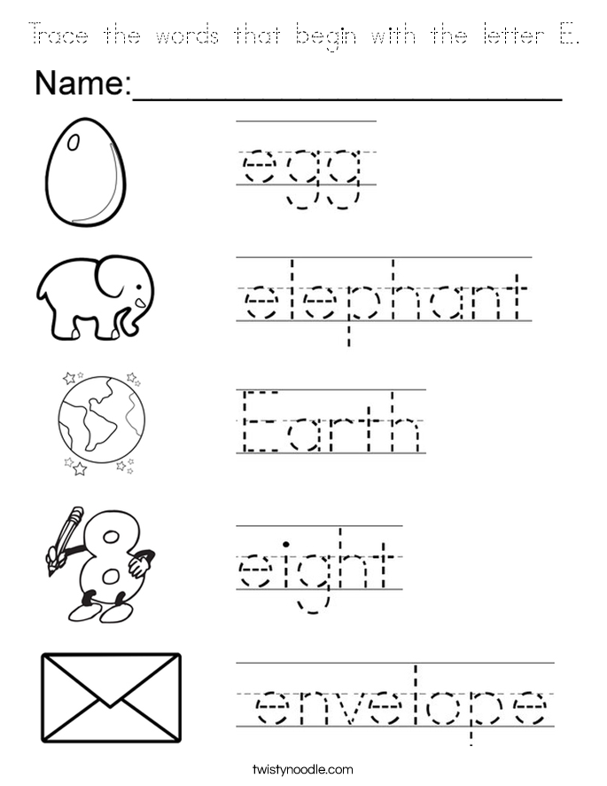 Trace the words that begin with the letter E Coloring Page ...