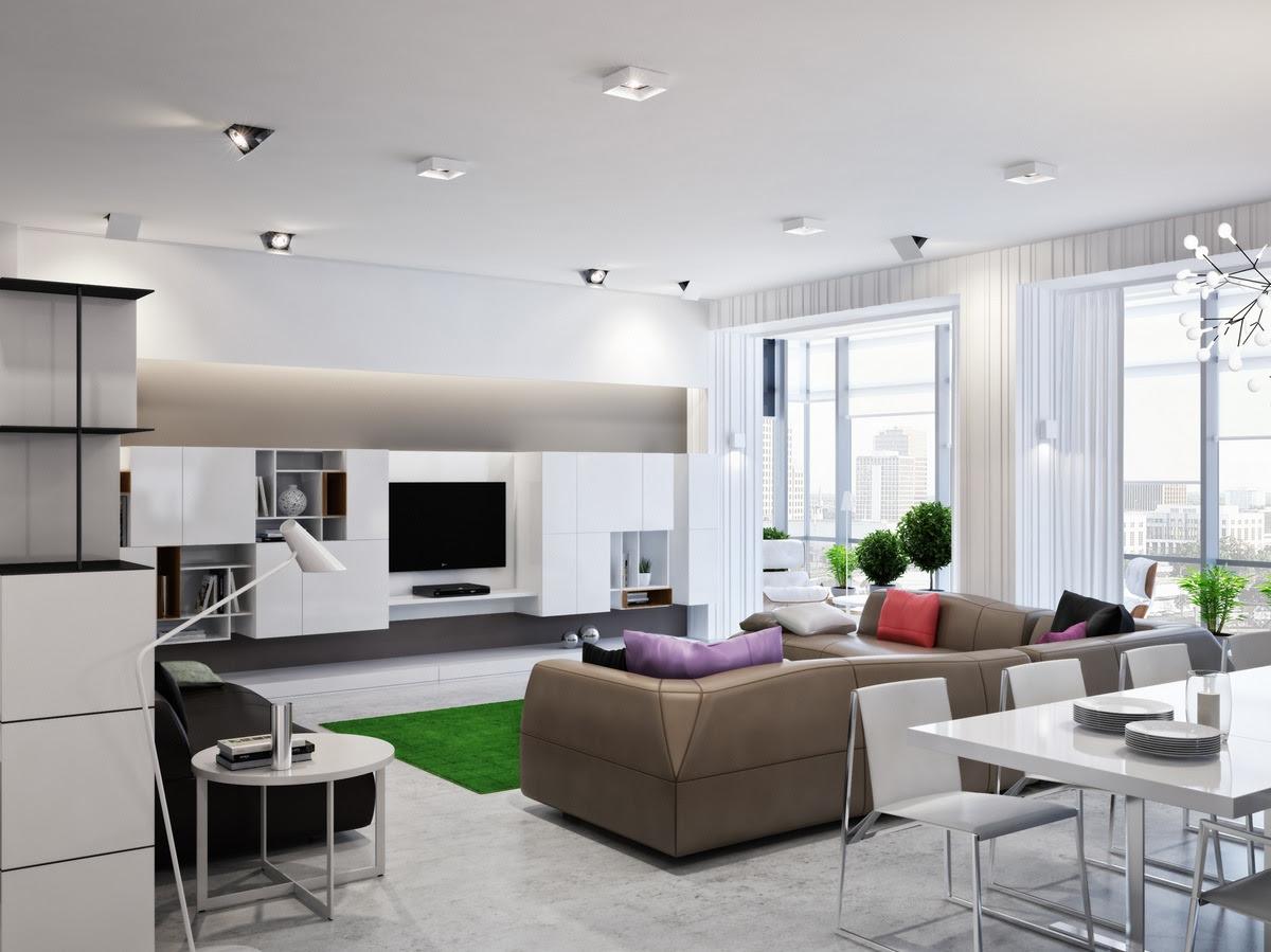 Neutral open plan living roomInterior Design Ideas.