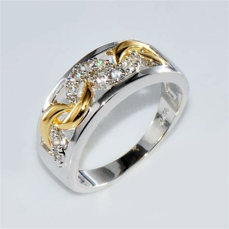 Size 6 10 Gold & Silver Crystal Hollow Band Ring 10KT