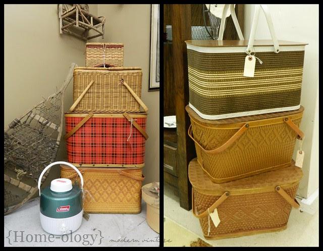 vintage picnic baskets via homeologymodernvintage.com