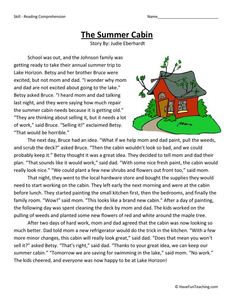 Reading Prehension Worksheet The Summer Cabin