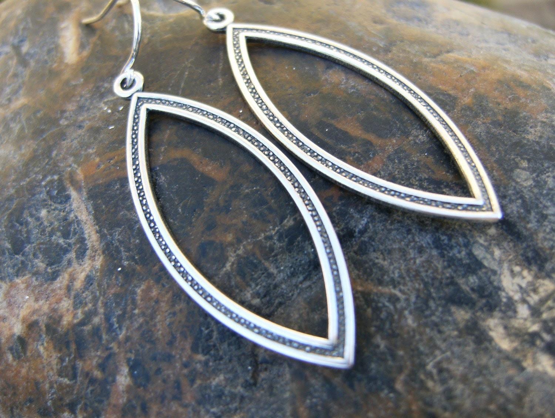 Nova Earrings- Silver Diamond Shaped Hoop Dangles on Sterling Silver Earwires