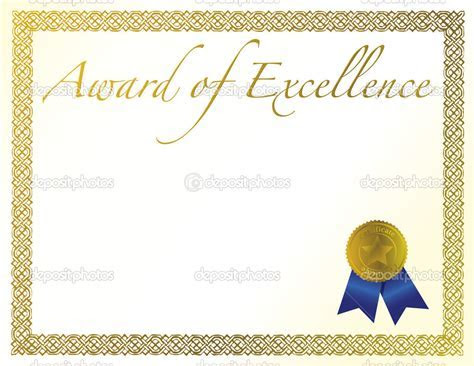 Illustration of a certificate. Award of Excellence with