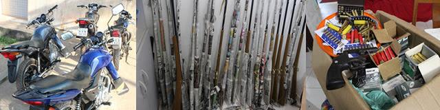 Além das munições, foram apreendidos 131 cartuchos de munições, sendo 45 de calibre 20; 47 de munições calibre 36 e 39 cartuchos de calibre 28 e várias motocicletas. Foto: SSP MA/Divulgação