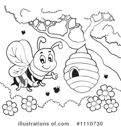 Honey Bee Cartoon Clipart Black And White