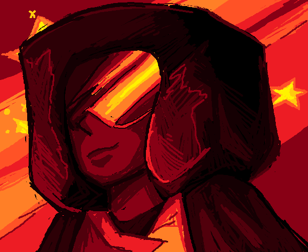 her pallets a bit more red rather than the usual purple and pink but oh well. maybe shes standing in front of something burning. maybe its blue diamonds house