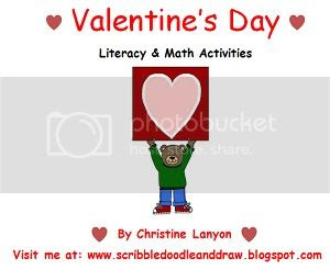 Valentine's day literacy and math center activities