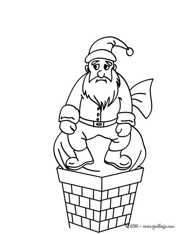 Dibujos Para Colorear Papa Noel Observando El Arbol De Navidad Es