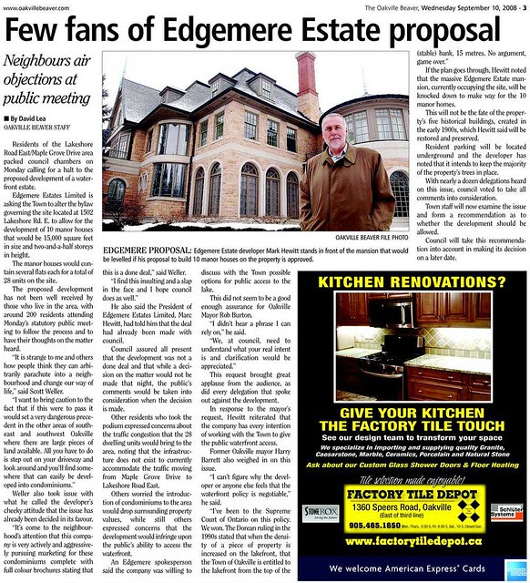 The Oakville Beaver, Wednesday, September 10, 2008 : Few fans of Edgemere Estate proposal