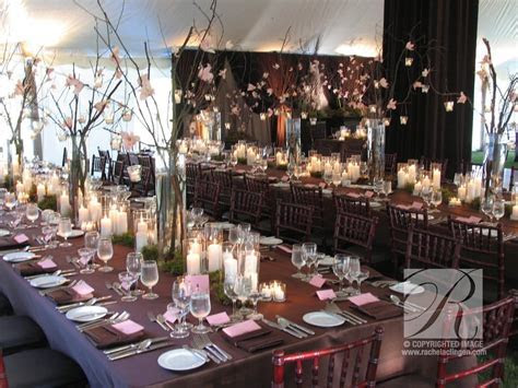 orchids and branches in a wedding tent at Eaton Hall in