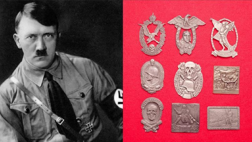 Un portrait d'Hitler et un aigle impérial du IIIe Reich ont été retrouvés parmi les bibelots.