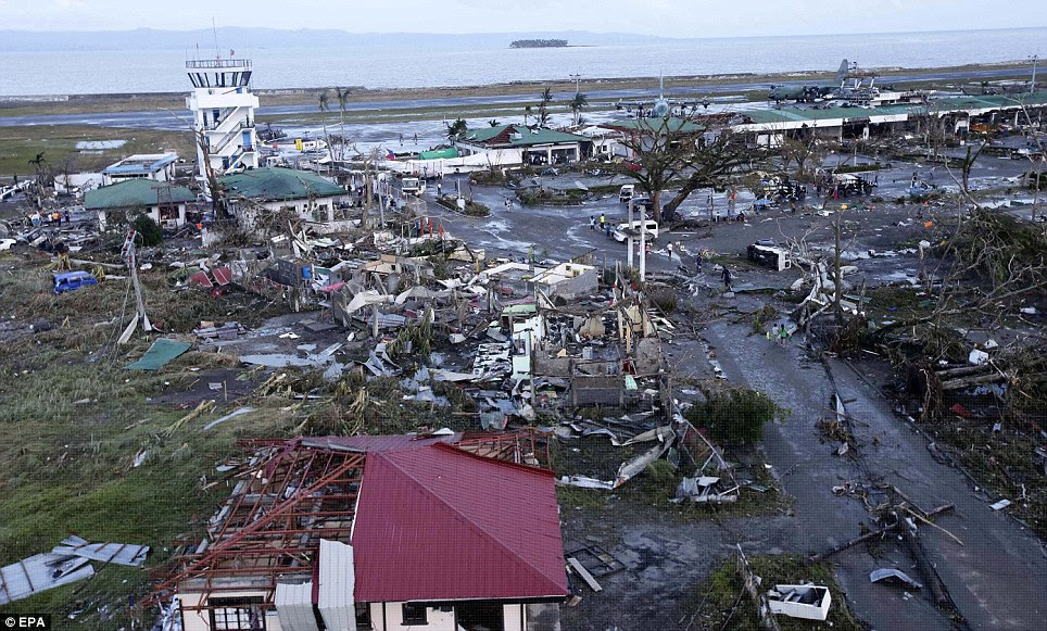 Flattened: The typhoon has ravaged most of the city of Tacloban and destroyed the airport