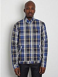 Fred Perry Laurel Men's Harrington Shirt Jacket W/ Madras Check 1
