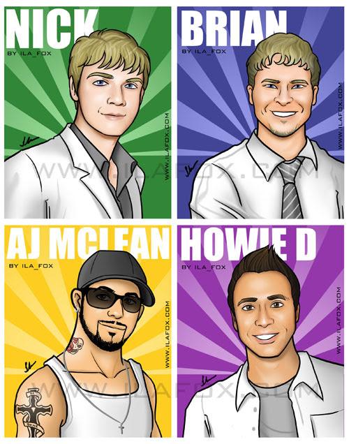 Desenho, ilustração, caricatura, cartoon, Backstreet Boys, Illustration, Brian, Nick, AJ Mclean, Howie D, by Ila Fox