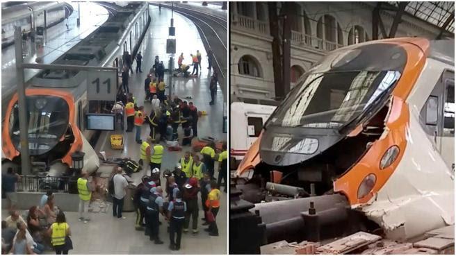 Así quedó el tren tras chocar contra el tope de la vía en la estación de França