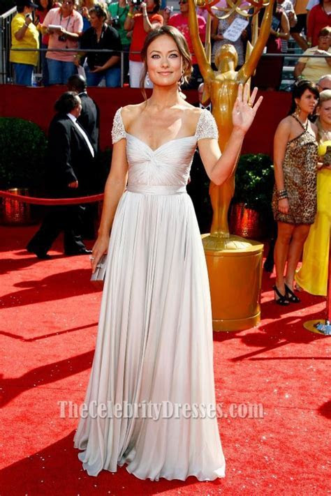 Olivia Wilde Cap Sleeve Prom Evening Dress 60th Primetime
