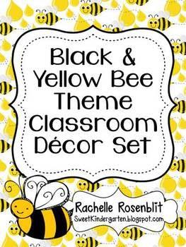 BLACK AND YELLOW BEE THEME CLASSROOM DECOR SET - TeachersPayTeachers.